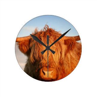 スコットランドの高地牛-スコットランド ラウンド壁時計