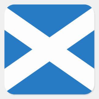 スコットランドのSaltireのスコットランドの旗(公式色) スクエアシール