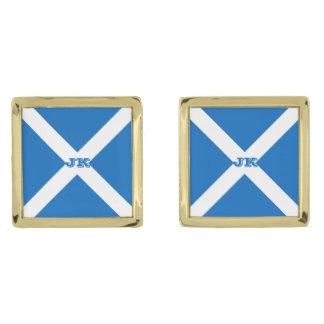 スコットランドまたはSaltireの旗 ゴールド カフスボタン