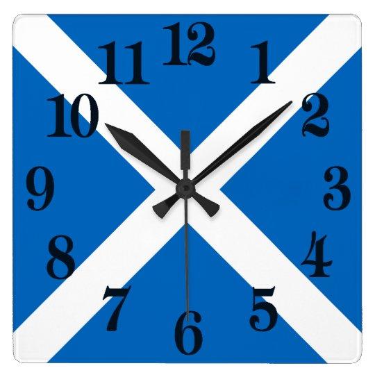 スコットランドまたはSaltireの旗 スクエア壁時計