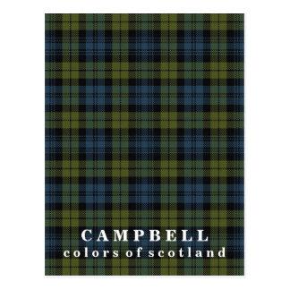スコットランドキャンベルのタータンチェックの色 ポストカード