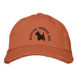 スコットランドテリアのお母さんのスコッチテリア犬 刺繍入りキャップ