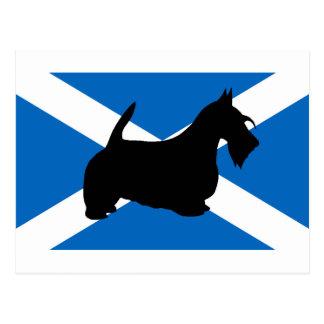 スコットランドテリアのシルエットスコットランドflag.png ポストカード