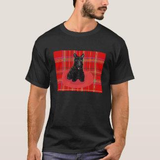スコットランドテリア犬および格子縞のTシャツ Tシャツ