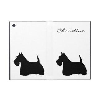 スコットランドテリア犬のシルエットのカスタムな女の子の名前 iPad MINI ケース