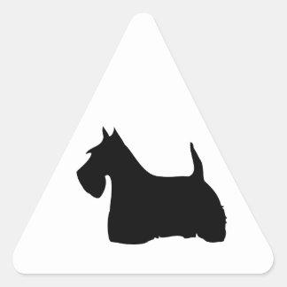 スコットランドテリア犬の黒のシルエットのステッカー 三角形シール
