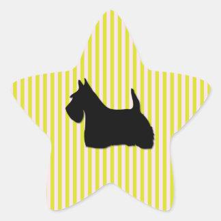スコットランドテリア犬の黒のシルエットのステッカー 星シール
