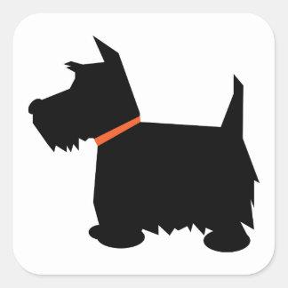 スコットランドテリア犬の黒のシルエット犬のステッカー スクエアシール