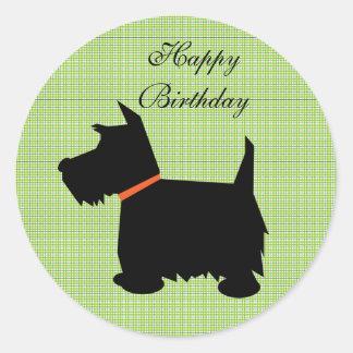 スコットランドテリア犬の黒のシルエット犬のステッカー ラウンドシール