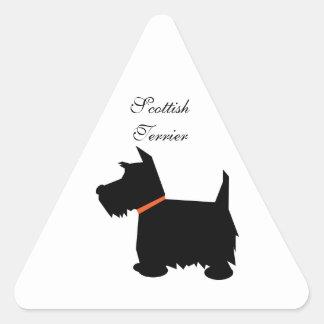 スコットランドテリア犬の黒のシルエット犬のステッカー 三角形シール