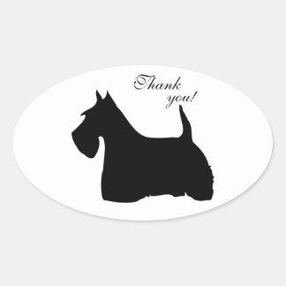 スコットランドテリア犬の黒のシルエット犬のステッカー 楕円形シール