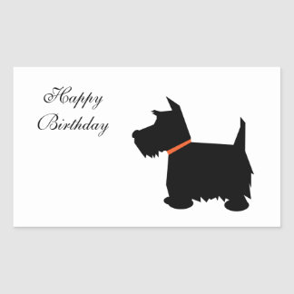 スコットランドテリア犬の黒のシルエット犬のステッカー 長方形シール