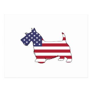 """スコットランドテリア- """"米国旗"""" ポストカード"""