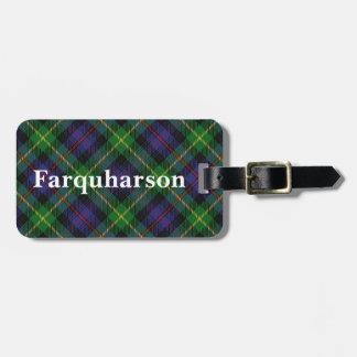 スコットランド人の一族のFarquharsonの古いタータンチェック ラゲッジタグ