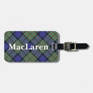 スコットランド人の一族のMacLarenの古いタータンチェック ラゲッジタグ