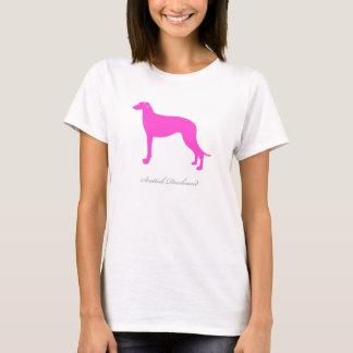スコットランド人のDeerhoundのTシャツ(ピンクのシルエット) Tシャツ