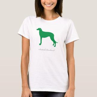 スコットランド人のDeerhoundのTシャツ(緑のシルエット) Tシャツ