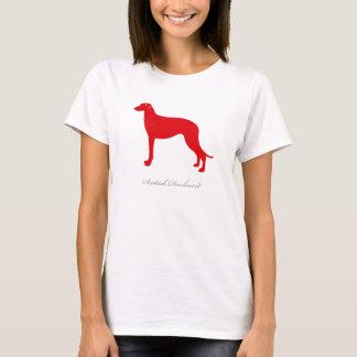 スコットランド人のDeerhoundのTシャツ(赤いシルエット) Tシャツ