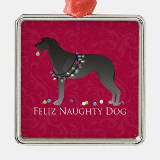 スコットランド人のDeerhound Felizいけない犬のクリスマス メタルオーナメント
