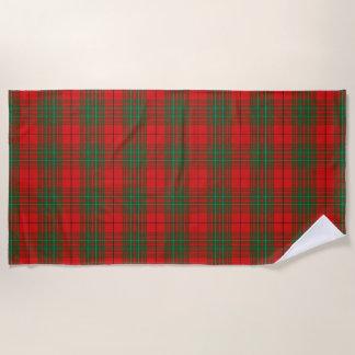 スコットランド人は一族のCummingの赤のタータンチェックにアクセントを置きます ビーチタオル