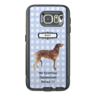 スコットランド人DeerhoundのMonogramedの青いギンガムS6 オッターボックスSamsung Galaxy S6ケース