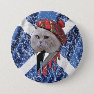 スコットランド猫 7.6CM 丸型バッジ