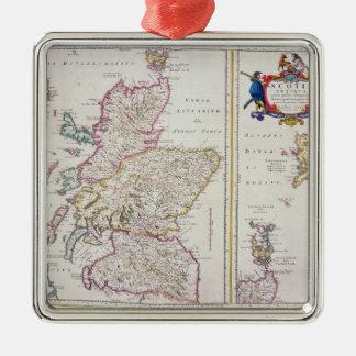 スコットランド、c.1700の地図 シルバーカラー正方形オーナメント