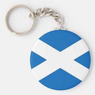 スコットランドKeychainの旗 ベーシック丸型缶キーホルダー