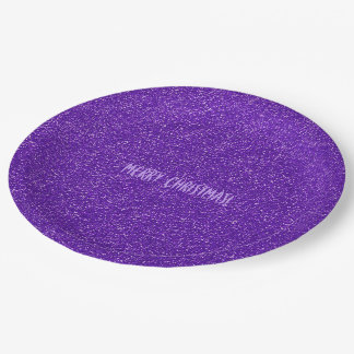スタイリッシュでシックな紫色のグリッターのメリークリスマスのパーティー ペーパープレート