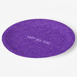 スタイリッシュでシックな紫色のグリッターの明けましておめでとうのパーティー ペーパープレート