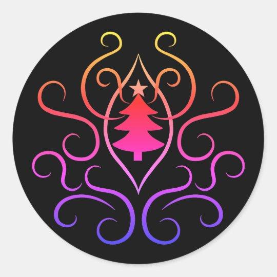 スタイリッシュで多彩なクリスマスツリーおよび渦巻 ラウンドシール