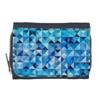 スタイリッシュで幾何学的で青いパターン ウォレット