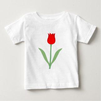 スタイリッシュで明るく赤いチューリップ ベビーTシャツ