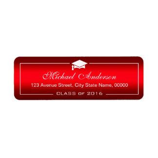 スタイリッシュで明白で赤い勾配の卒業の帽子の卒業生 ラベル