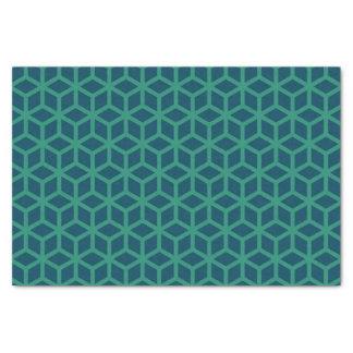 スタイリッシュで暗いティール(緑がかった色)の幾何学的なパターン 薄葉紙