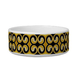 スタイリッシュで王室ので黄色く黒いパターン 猫の水皿