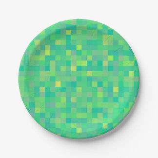 スタイリッシュで粋な緑か黄色ピクセルモザイク模様 ペーパープレート