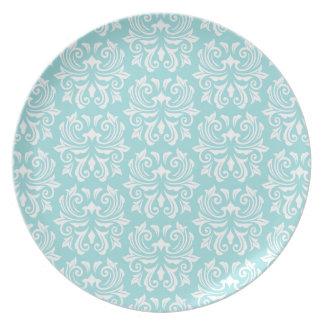 スタイリッシュで華美で淡い色のな水の青く白いダマスク織パターン プレート