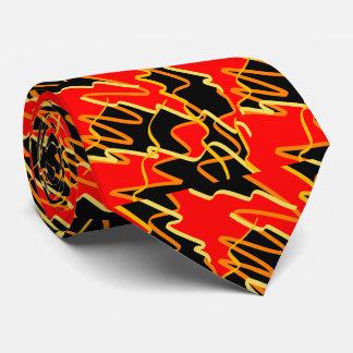 スタイリッシュで赤いオレンジ黄色の抽象美術のタイ ネクタイ