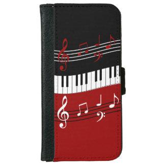 スタイリッシュで赤い白黒のピアノ鍵およびノート iPhone 6/6S ウォレットケース