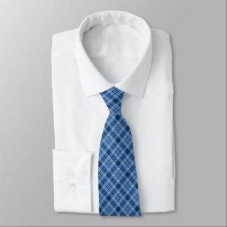 スタイリッシュで青い格子縞の首のタイ ネクタイ