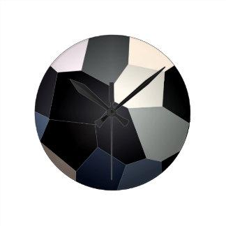 スタイリッシュで青および黒いステンドグラスパターン ラウンド壁時計