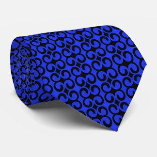 スタイリッシュで青および黒いパターン ネクタイ