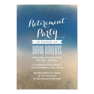 スタイリッシュで青及び白い冬の退職パーティ カード