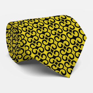 スタイリッシュで黄色および黒いパターン ネクタイ