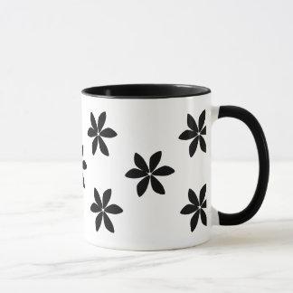 スタイリッシュで黒い花模様のマグ マグカップ