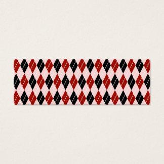 スタイリッシュで黒くおよび赤くアーガイル柄のな格子縞パターン スキニー名刺