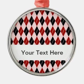 スタイリッシュで黒くおよび赤くアーガイル柄のな格子縞パターン メタルオーナメント