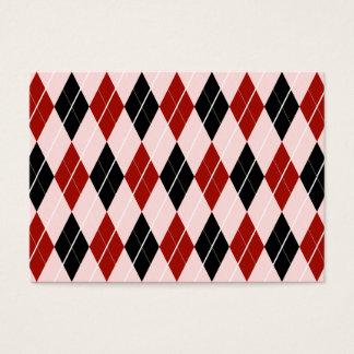 スタイリッシュで黒くおよび赤くアーガイル柄のな格子縞パターン 名刺
