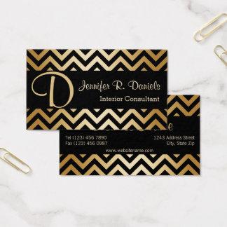 スタイリッシュで黒く模造のな金ゴールドのシェブロンのジグザグパターン 名刺